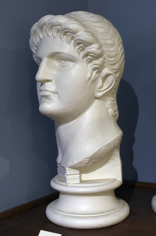 Cast based on an original in the British Museum. Nero Claudius Caesar, born in Antium in 37 to Gnaeus Domitius Ahenobarbus and Agrippina the Younger, was one of Rome's most intriguing emperors. His mother was the fourth wife of the emperor Claudius and she persuaded him to adopt her son Nero. Agrippina's malicious intentions were to kill Claudius so that her son would attain the position of emperor, so upon Claudius' untimely death, seventeen-year-old Nero ascended to the throne in the year 54.