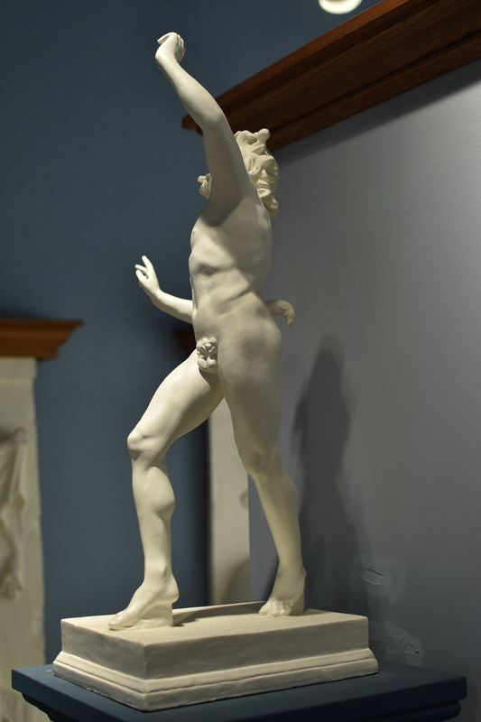 Modern plaster replica of Roman bronze original from the House of the Faun at Pompeii, dating ca. 150 BCE, and now houses in the Museum of Archaeology in Naples. The original piece was displayed in the the impluvium-fountain of the house. The torsional pose of the piece associates it with late 4th and early 3rd centuries BCE works from the school of the Greek sculptor Lysippos, who introduced a new three-dimensionality and movement into his work in contrast to the static calm of sculpture of the 5th century.