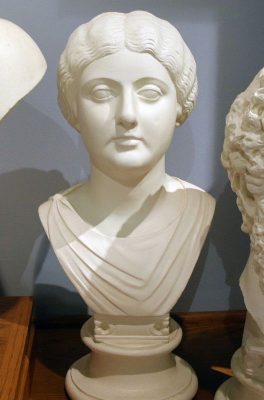 Anna Galeria Faustina the Younger (ca. 130-175 CE), daughter of Antoninus Pius, wife of Marcus Aurelius, and mother of Commodus. After her death, Marcus Aurelius had her deified and the city in which she died (Halala in Cappadocia) renamed Faustinopolis. This portrait (ca. 152-160 CE) perhaps celebrated the birth of her son Titus Aelius Antoninus in 152. Cast based on the original in the British Museum.